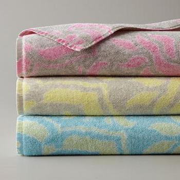 Decor/Accessories - Venetian Brocade Bath Towels - Neiman Marcus - brocade bath towels, taupe and yellow bath towel, pink and gray bath towels, blue and green bath towel,