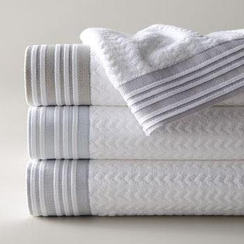 Decor/Accessories - Provence Bath Towels - Neiman Marcus - white chevron jacquard bath towels, pleated border bath towels, jacquard bath towels,