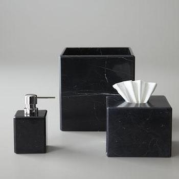 Decor/Accessories - Luna Black Marble Vanity Accessories -  Neiman Marcus - black marble vanity accessories, black marble bathroom accessories, black marble soap dispenser, black marble tissue box cover, black marble tumbler,