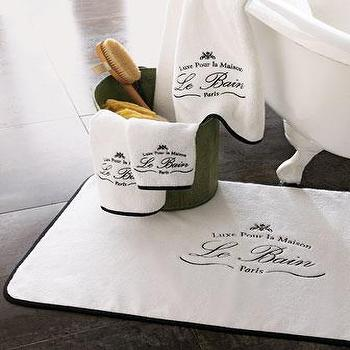 Decor/Accessories - Le Bain Bath Towels - Neiman Marcus - Egyptian cotton towels, white bath towels with French calligraphy, le bain bath towels,
