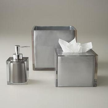 Decor/Accessories - Moderna Vanity Accessories - Neiman Marcus - modern silver vanity accessories, modern silver bath accessories, silver soap dispenser, silver tissue box coverm silver wastebasket,