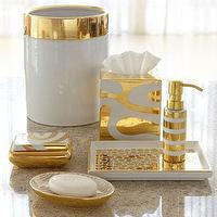 Decor/Accessories - Porcelain &amp; Gold Vanity Accessories - Neiman Marcus - white and gold vanity accessories, white and gold bath accessories, white and gold striped soap dispenser, whtie and gold tissue box cover, white and gold spotted tray, white and gold oval soap dish, white and gold wastebasket, white and gold trinket box,