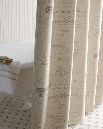 French Script Shower Curtain Neiman Marcus