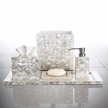 Decor/Accessories - Herringbone Vanity Accessories - Neiman Marcus - mother of pearl vanity accessories, mother of pearl bath accessories, mother of pearl vanity tray, mother of pearl soap dispenser, mother of pearl soap dish, mother of pearl tissue box cover, mother of pearl waste basket,