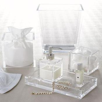 Decor/Accessories - Solid Ice Vanity Accessories - Neiman Marcus - clear lucite vanity accessories, clear lucite bath accessories, lucite vanity tray, lucite soap dispenser, lucite tissue box cover, lucite waste basket, lucite container,