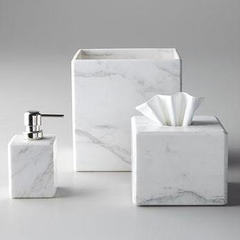 Decor/Accessories - Marble Vanity Accessories - Neiman Marcus - marble vanity accessories, marble wastebasket, marble soap dispenser, marble tissue box cover,