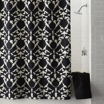 Decor/Accessories - Silhouette Floral Shower Curtain - Neiman Marcus - black and white shower curtain, graphic shower curtain,