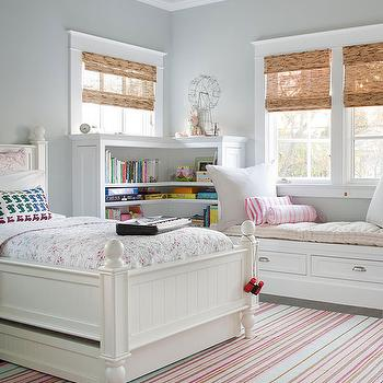 BHG - girl's rooms - gray girl's room, gray girl's bedroom, gray girl's room paint, gray girl's room walls, gray ceiling, gray painted ceiling, gray girl's room ceiling, twin bed, girl's bed, twin girl's bed, trundle bed, girl's trundle bed, white trundle bed, girl's room trundle bed, girl's bookcase, girl's room bookcase, L shaped bookcase, girl's L shaped bookcase, window seat, window seat storage, candy stripe, candy stripe pillows, bamboo orman shades, girls room shades, girl's room window treatments, pink and gray girls room, pink and gray girls bedroom,