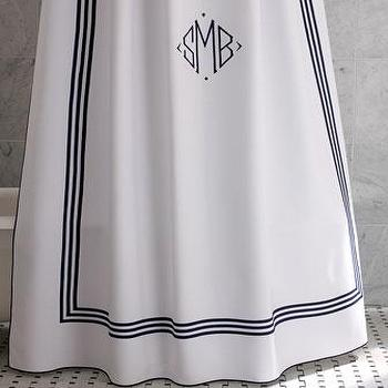 Decor/Accessories - Newport Monogrammed Shower Curtain - Neiman Marcus - hotel shower curtain, monogrammed shower curtain, navy and white monogrammed shower curtain,