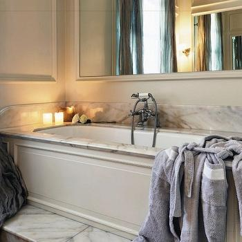 Stefania Di Girolamo - bathrooms - master bathroom, european bathroom, wood panel drop-in tub, ivory wood panel tub, drop-in tub, marble drop-in tub, gray silk drapes, gray bathroom drapes, gray silk bathroom drapes, marble steps, marble bathroom steps, tub steps, marble tub steps, ivory bathroom walls, ivory bathroom paint, ivory bathroom mirror, spa-like bathroom, romantic bathroom,