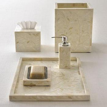 Decor/Accessories - Bone Inlay Vanity Accessories - Neiman Marcus - bone inlay vanity accessories, bone inlay tray, bone inlay soap dispenser, bone inlay soap dish, bone inlay tissue box cover, bone inlay wastebasket,