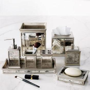 Decor/Accessories - Palazzo Vintage Vanity Accessories - Neiman Marcus - antiqued mirrored vanity accessories, antiqued mirrored bath accessories, mirrored soap dispenser, mirrored soap tray, mirrored tisuue box cover, mirrored waste basket, mirrored toothbrush holder,