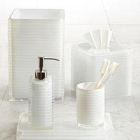Decor/Accessories - Mar-a-Lago Vanity Accessories by Trump Home - Neiman Marcus - white vanity accessories, white bath accessories, clear resin and white, soap dispenser, tissue box cover, waste basket, toothbrush holder, vanity tray,