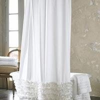 Decor/Accessories - Ruffled Shower Curtain - Neiman Marcus - white cotton shower curtain, white ruffled shower curtain, ruffled shower curtain,