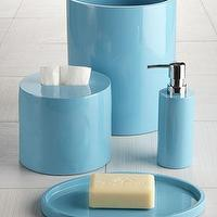 Decor/Accessories - Lacquered Vanity Accessories by Jonathan Adler - Neiman Marcus - lacquered vanity accessories, lacquered bath accessories, lacquered turquoise soap dish, lacquered turquoise soap dispenser, lacquered turquoise waste basket, lacquered turquoise tissue box cover,