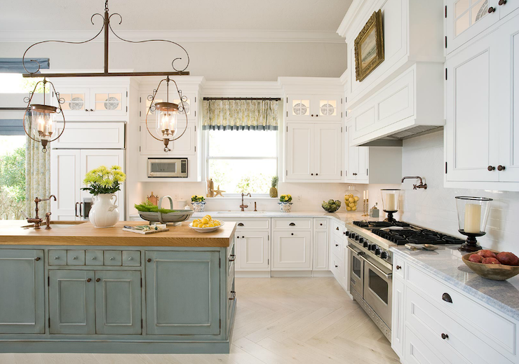 Two tone kitchen eclectic kitchen emily gilbert for Duck egg blue kitchen island