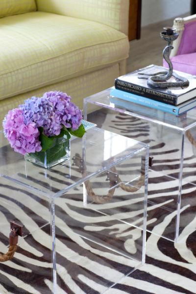 Lucite Cube Ottomans, Contemporary, living room, At Home in Fairfield County