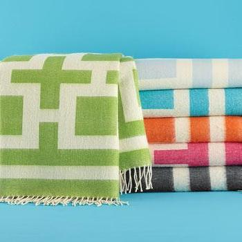 Decor/Accessories - Jonathan Alder Nixon Throws - Neiman Marcus - green geometric wool throw, gray geometric wool throw, pink geometric wool throw, blue geometric wool throw, orange geometric wool throw,
