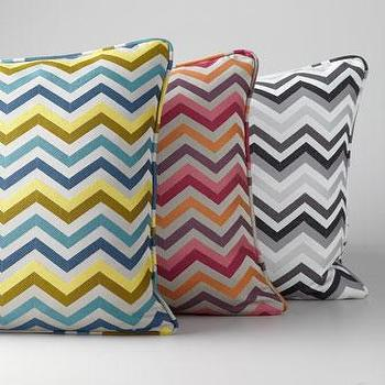 Pillows - Chevron Accent Pillow - Neiman Marcus - blue and yellow chevron pillow, pink and orange chevron pillow, black and white chevron pillow,