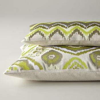 Pillows - Green & Taupe Pillows - Neiman Marcus - green and taupe embroidered pillow, green embroidered pillow,