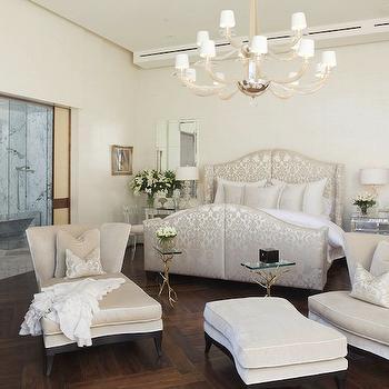 Silk Damask Bed- Transitional, bedroom, Jamie Herzlinger