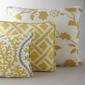 Pillows - Yellow, Citron, & Gray Pillows - Neiman Marcus - yellow pillow, yellow fretwork pillow, yellow branch pillow, yellow coral pillow, golden yellow pillows,