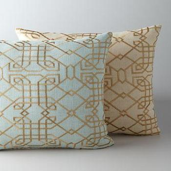 Pillows - Metropolitan Accent Pillow - Neiman Marcus - art deco blue pillow, art deco gold pillow,