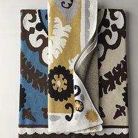 Decor/Accessories - Suzani Throw - Neiman Marcus - suzani throw, blue and brown suzani throw, yellow and gray suzani throw, black and cream suzani throw,