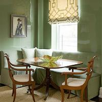 Phoebe Howard - dining rooms - green dining room, glossy green dining room, green lacquer walls, glossy green lacquer walls, dining room roman shade, fretwork roman shade, ivory and green roman shade, ivory and green geometric roman shade, geometric roman shade, ivory and green fretwork roman shade, built-in banquette, tufted banquette, green banquette, tufted built-in banquette, green built-in banquette, green tufted banquette, green tufted built-in banquette, bound sisal rug, antique dining chair, antique dining chairs, fretwork fabric, green fretwork fabric, ivory and green fretwork fabric, tufted banquette, Michael Devine Fretwork,