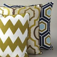 Pillows - Geometric Pillows - Neiman Marcus - green and white zigzag pillow, cream geometric pillow, blue geometric pillow,