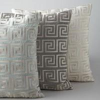 Pillows - Greek Key Metallic Accent Pillow - Neiman Marcus - Greek key metallic pillow, blue Greek key pillow, gray Greek key pillow, ivory Greek key pillow,