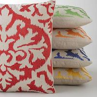 Pillows - Ikat Detail Embroidered Pillow - Neiman Marcus - red ikat pillow, green ikat pillow, orange ikat pillow, blue ikat pillow, yellow ikat pillow,