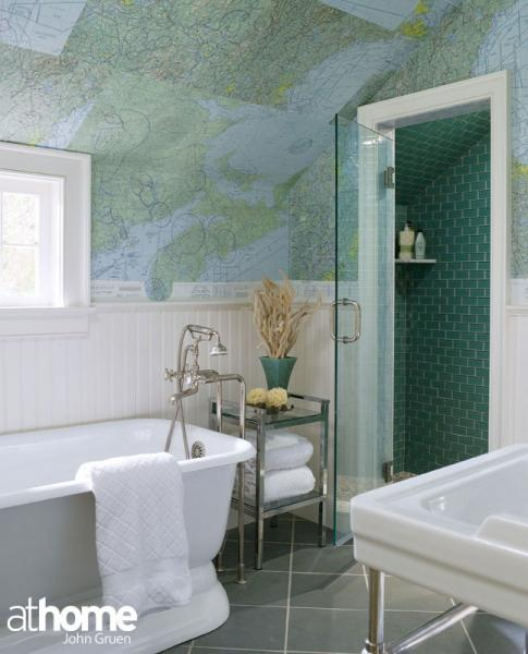 Floor To Ceiling Beadboard In Bathroom: World Map Wallpaper