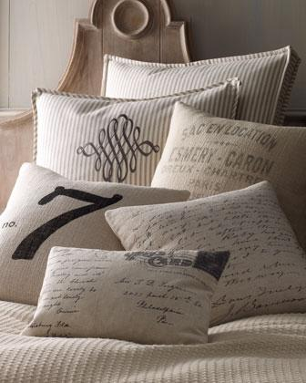 Pillows - French Laundry Pillows - Neiman Marcus - striped pillow, French words pillow, vintage letter pillow, number 7 pillow, vintage postcard pillow,