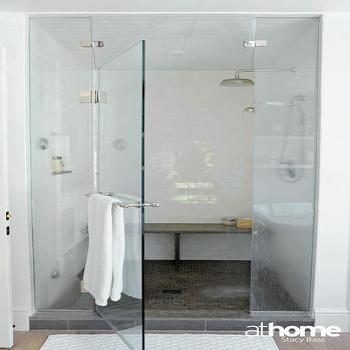 Seamless Glass Shower, Contemporary, bathroom, At Home in Fairfield County