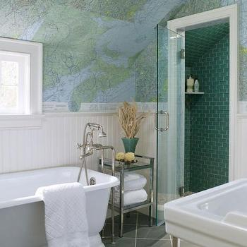 World Map Wallpaper, Contemporary, bathroom, At Home in Fairfield County