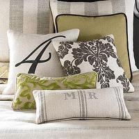 Pillows - Spring Garden Pillows - Neiman Marcus - feedsack pillows, linen pillows, citrine pillow, brown damask pillow, striped feedsack pillow,