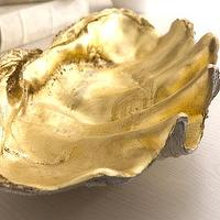Decor/Accessories - Golden Shell Bowl - Neiman Marcus - clam shell, clam shell with gold interior, gold clam shell,
