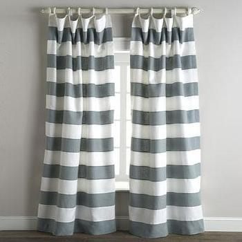 Window Treatments - Tuscany Stripe Curtains - Neiman Marcus - gray and white striped drapes, gray and white horizontal striped curtains,