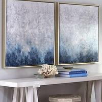 Art/Wall Decor - 'Frost on Sapphire' Wall Art - Neiman Marcus - blue and white wall art, sapphire blue wall art, blue and white abstract art,