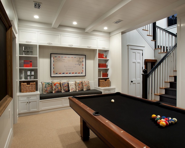 Basement Pool Room - Transitional - den/library/office - Vallone ...