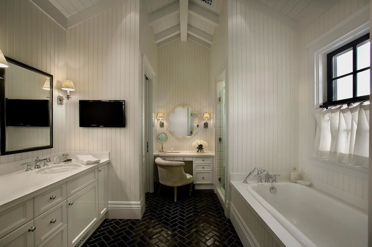 Black Herringbone Tile Transitional Bathroom Vallone Design