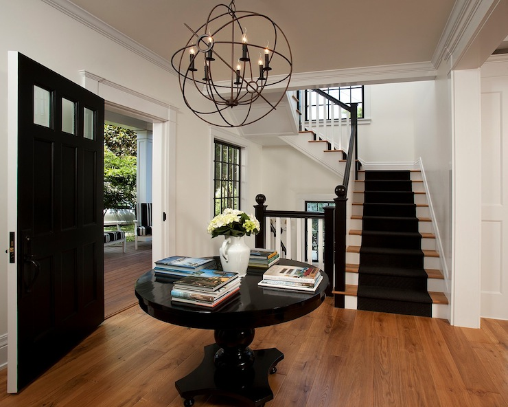 Iron Orb Chandelier Cottage Entrance Foyer Vallone