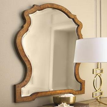 Mirrors - 'Kaydence' Mirror - Neiman Marcus - distressed veneer mirror, bunished wall mirror, traditional wall mirror, wood veneer mirror,
