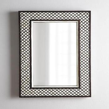 Mirrors - Rectangular 'Mughal' Bone Mirror - Neiman Marcus - bone inlay mirror, inlaid bone mirror, rectangular bone inlaid mirror,
