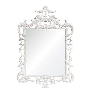 Mirrors - White Lacquered ' Chippendale' Mirror - Neiman Marcus - white lacquered chippendale mirror, white lacquered ornate mirror, laquered chippendale mirror,