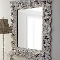 Mirrors - 'Crushed Shell' Mirror - Neiman Marcus - ornate white mirror, ornate white distressed mirror, shell and scroll mirror,