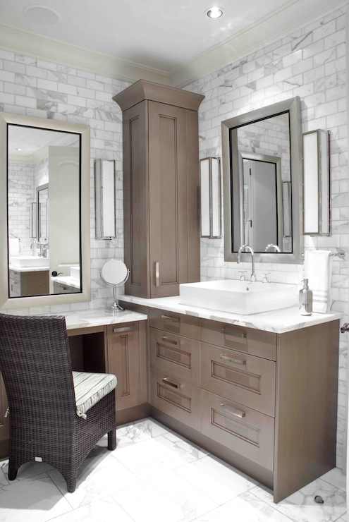 Brown painted cabinets transitional bathroom design galleria - Corner bathroom vanities and sinks design ...