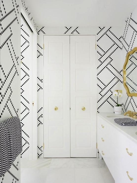 White And Black Master Bathroom Contemporary Bathroom