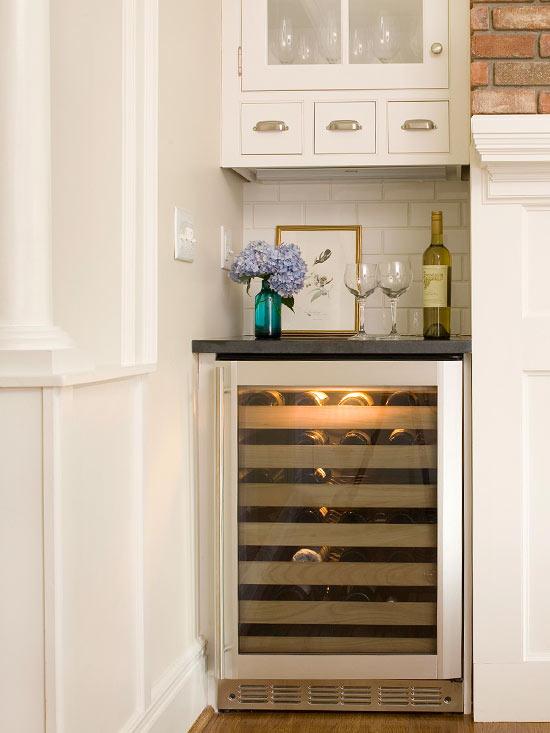 mini wine cooler  transitional  kitchen  bhg